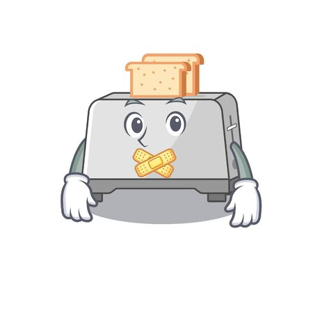cartoon character design bread toaster making a silent gesture Stock Illustratie