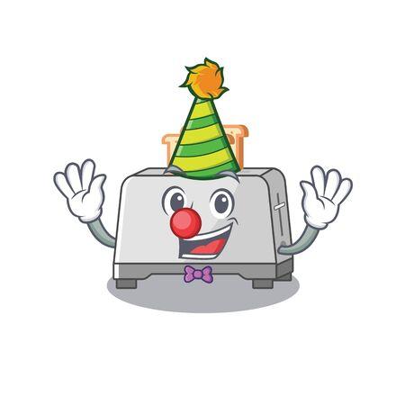 Funny Clown bread toaster cartoon character mascot design Ilustração