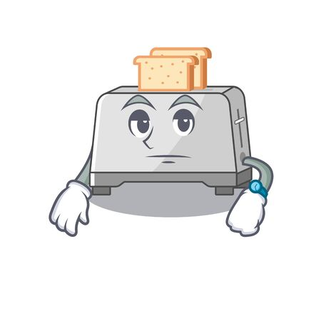 cartoon character design of bread toaster on a waiting gesture