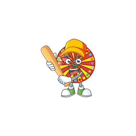 An active healthy wheel fortune mascot design style playing baseball. Vector illustration