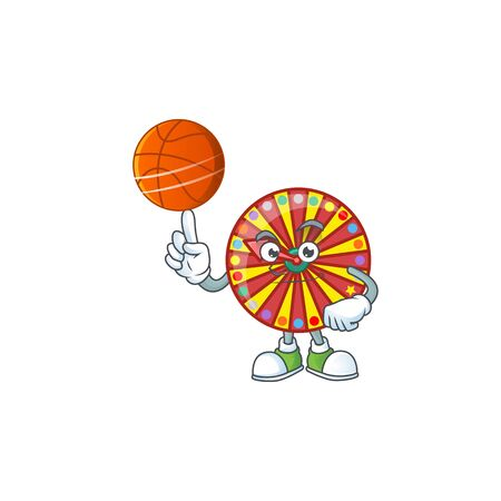 a strong wheel fortune cartoon character with a basketball. Vector illustration