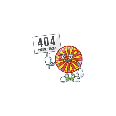 cheerless face wheel fortune mascot style design raised up a board. Vector illustration