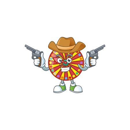 The brave of wheel fortune Cowboy cartoon character holding guns. Vector illustration