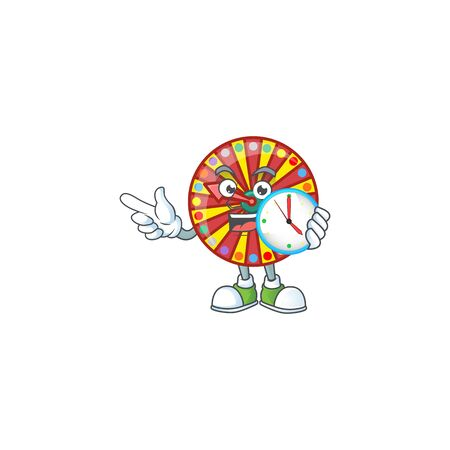 Wheel fortune cartoon character style with a clock. Vector illustration Illustration