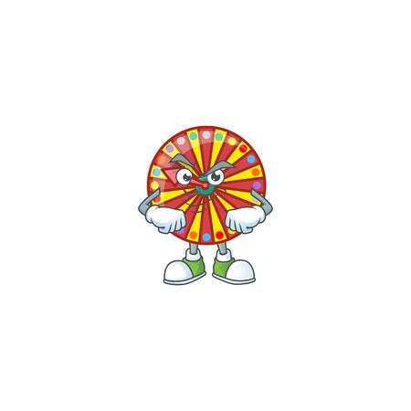 Wheel fortune mascot icon design style with Smirking face. Vector illustration