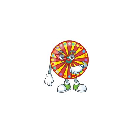A picture of wheel fortune on a waiting gesture. Vector illustration