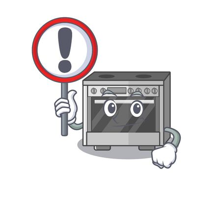 cute mascot character style of kitchen stove raised up a sign