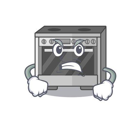 Küchenherd-Cartoon-Charakter-Stil mit wütendem Gesicht