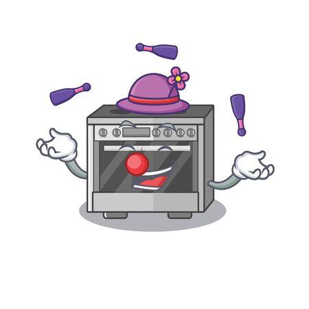 a lively kitchen stove cartoon character design playing Juggling Ilustração