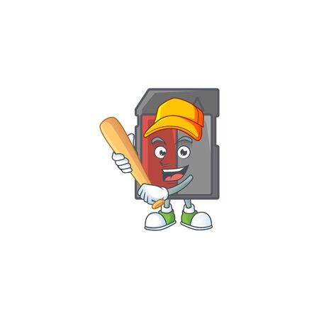 An active healthy memory card mascot design style playing baseball. Vector illustration 일러스트