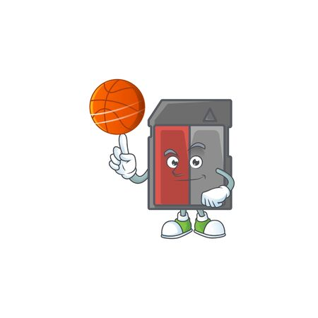 a strong memory card cartoon character with a basketball. Vector illustration