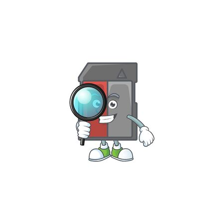 A famous of one eye memory card Detective cartoon character design . Vector illustration