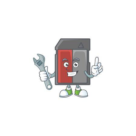 happily Mechanic memory card cartoon character design. Vector illustration