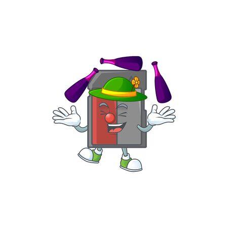 Smart memory card cartoon character style playing Juggling. Vector illustration Ilustração