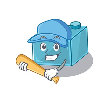 Smiley Funny brick toys a mascot design with baseball