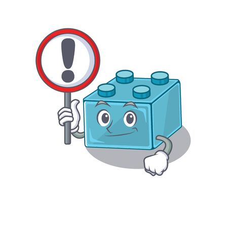 cute mascot character style of lego brick toys raised up a sign. Vector illustration Çizim