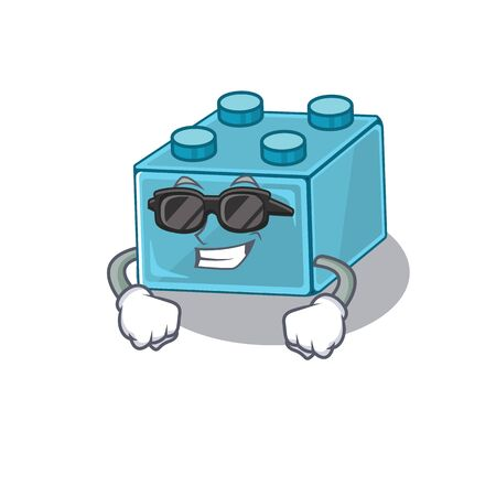 Super cool brick toys character wearing black glasses