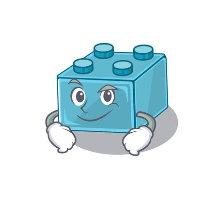 Cool brick toys mascot character with Smirking face