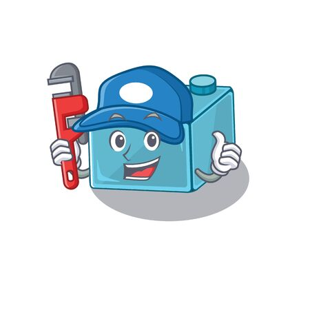 A cute picture of brick toys working as a Plumber  イラスト・ベクター素材