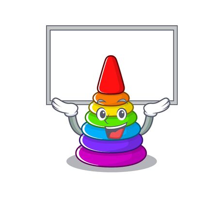 A toy pyramid mascot picture raised up board