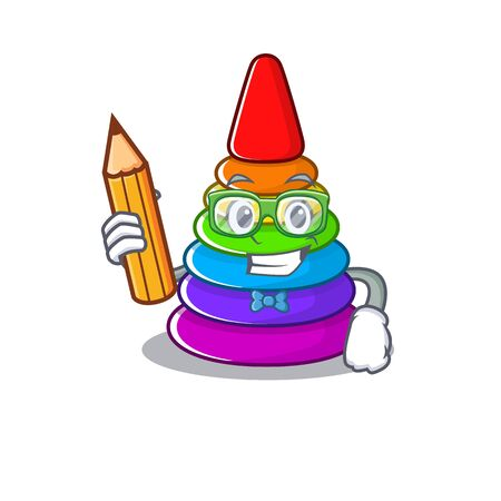 A smart Student toy pyramid character holding pencil