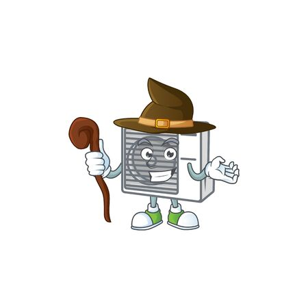 A cute split air conditioner performed as a witch on the stage. Vector illustration