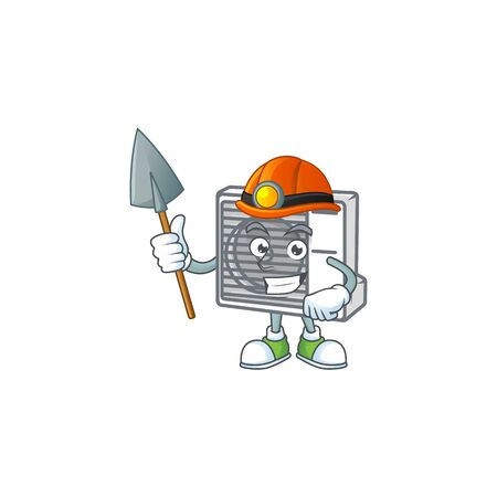 Cool clever Miner split air conditioner cartoon character design. Vector illustration