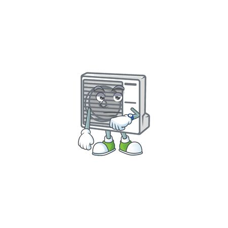 A picture of split air conditioner on a waiting gesture. Vector illustration Ilustrace