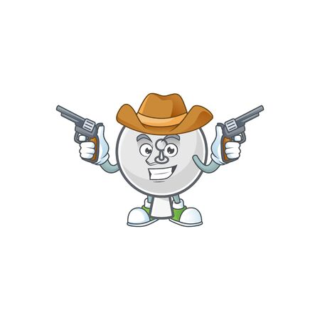 The brave of satellite dish Cowboy cartoon character holding guns