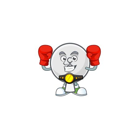 A sporty Boxing satellite dish cartoon character design style
