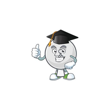 A happy character of satellite dish in a black Graduation hat