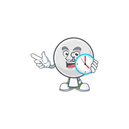 Satellite dish cartoon character style with a clock Reklamní fotografie - 139942232