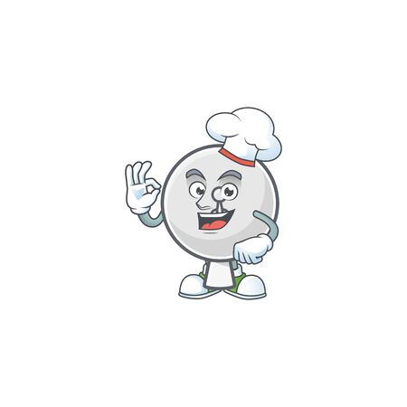 Satellite dish cartoon character in a chef dress and white hat Ilustracja