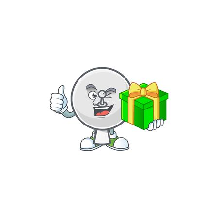 Cute satellite dish character holding a gift box