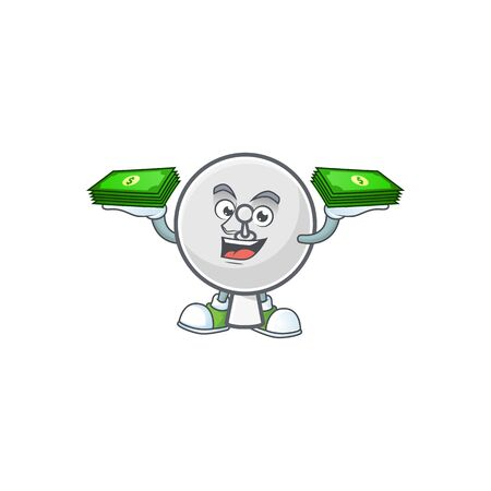 rich and famous satellite dish cartoon character with money on hands. Vector illustration