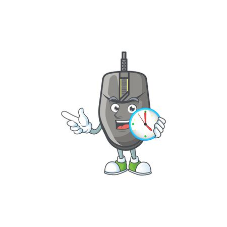 Black mouse cartoon character style with a clock