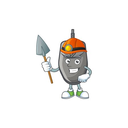 Cool clever Miner black mouse cartoon character design