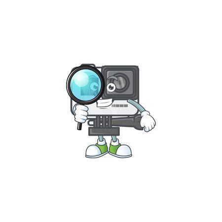 A famous of one eye action camera Detective cartoon character design Illusztráció