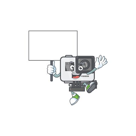 A picture of action camera cartoon character with board. Vector illustration