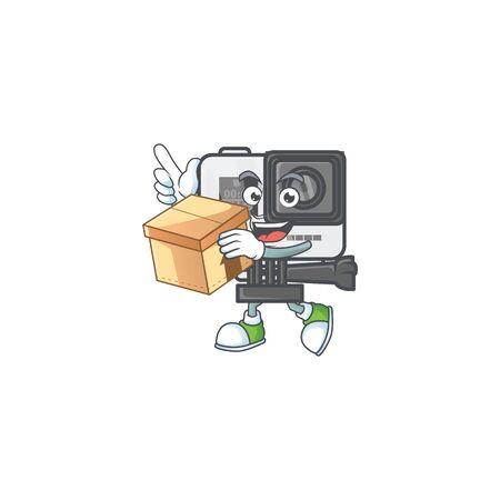A charming action camera mascot design style having a box Illustration
