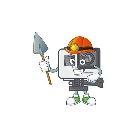 Cool clever Miner action camera cartoon character design