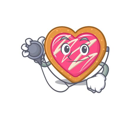 A mascot picture of cookie heart cartoon as a Doctor with tools. Vector illustration Illustration