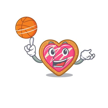 Une image de mascotte de personnage de dessin animé de coeur de biscuit jouant au basket-ball