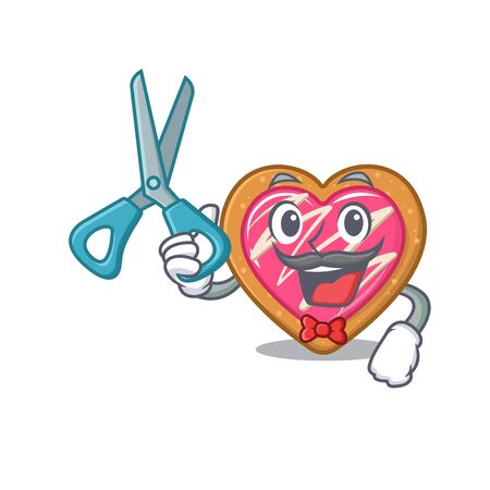 Cartoon character of Sporty Barber cookie heart design style Illustration