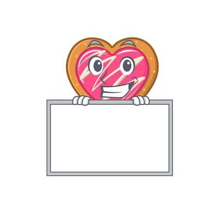 Cookie heart cartoon design concept grinning with board