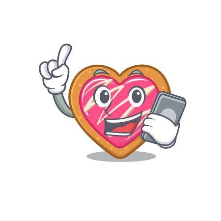 Cookie heart Cartoon design style speaking on a phone Illustration