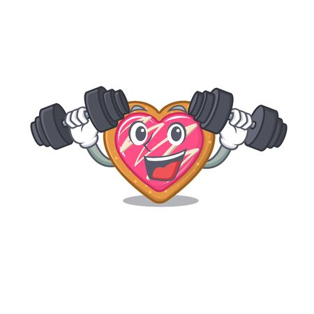 Sporty Fitness exercise cookie heart mascot design using barbells