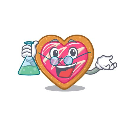 Cool cookie heart Professor cartoon character with glass tube