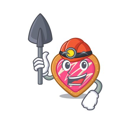 Cool clever Miner cookie heart cartoon character design