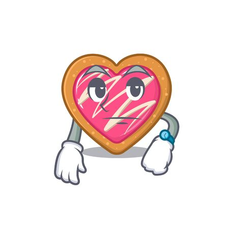 cartoon character design of cookie heart on a waiting gesture Ilustração